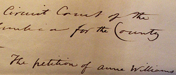 A handwritten petition for freedom from 1828. Click on the link to be taken to the text.