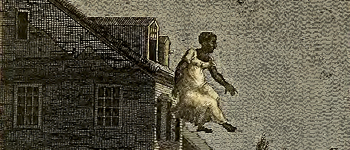 An etching of a woman jumping from the third floor garret window of a tavern house.