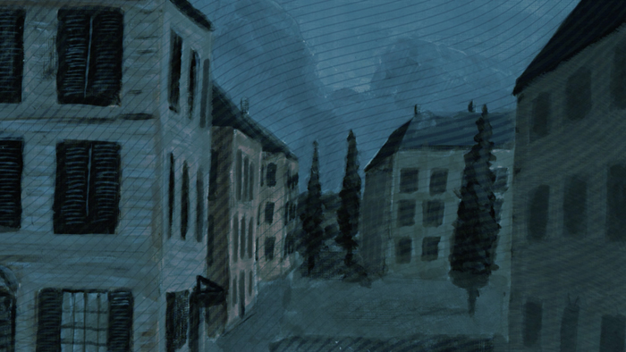 A screenshot from the animated film. A view of the buildings of F Street at night.
