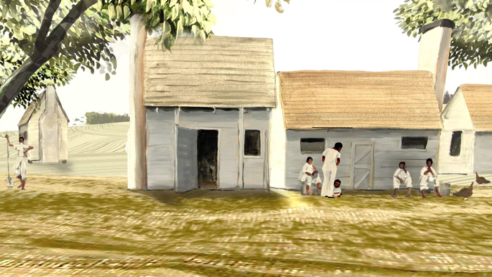 A screenshot from the animated film. Enslaved people carry on conversations in front of whitewashed wooden structures.
