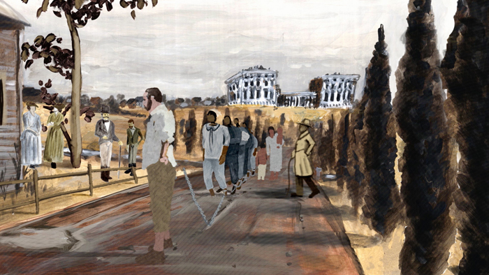 A screenshot from the animated film. A coffel of enslaved men, women, and children are marched through the streets of Washington, D.C., with the unfinished capitol building in the background.